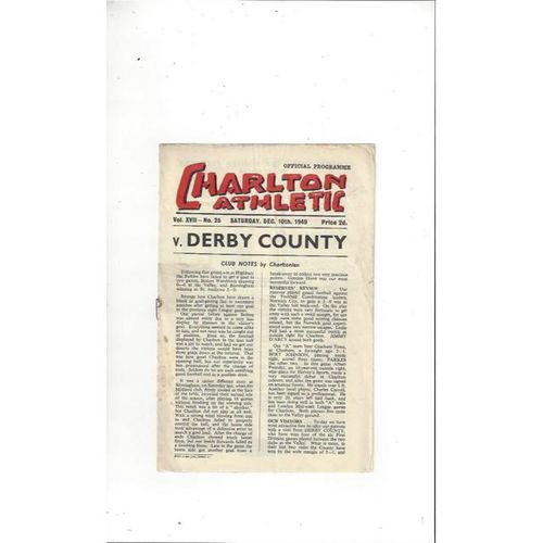 1949/50 Charlton Athletic v Derby County Football Programme