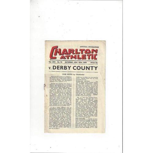 1949/50 Charlton Athletic v Derby County Football Programme