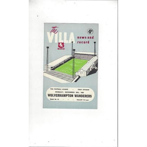1964/65 Aston Villa v Wolves Football Programme