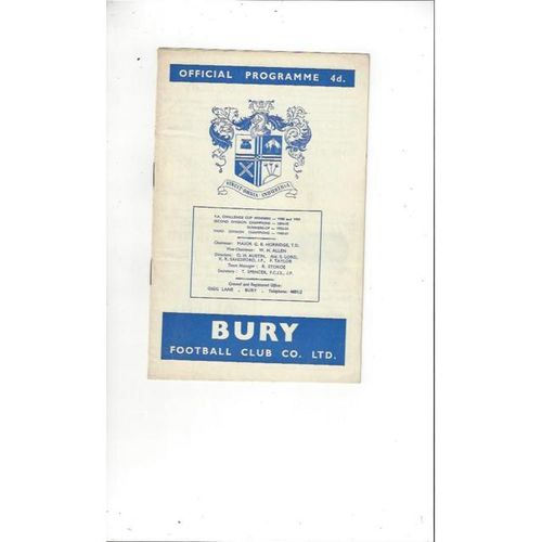 1962/63 Bury v Derby County Football Programme