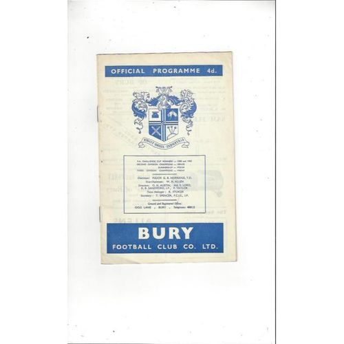 1963/64 Bury v Derby County Football Programme