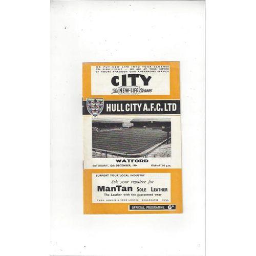 1964/65 Hull City v Watford Football Programme