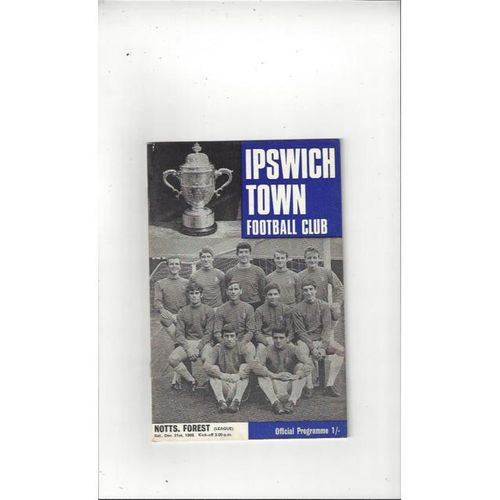 1968/69 Ipswich Town v Nottingham Forest Football Programme + League Review