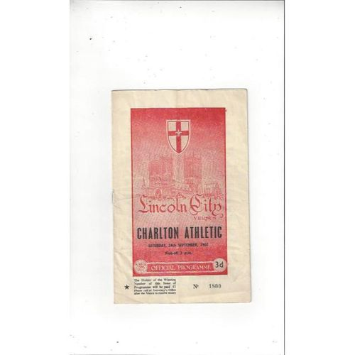 1960/61 Lincoln City v Charlton Athletic Football Programme