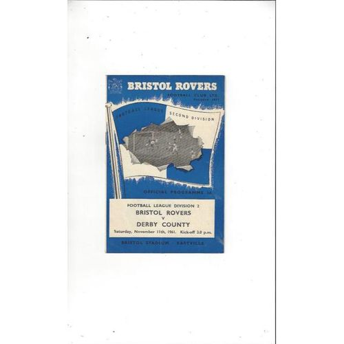 1961/62 Bristol Rovers v Derby County Football Programme