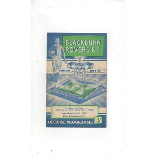 1964/65 Blackburn Rovers v Blackpool Football Programme