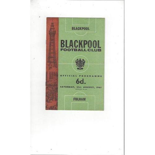 1965/66 Blackpool v Fulham Football Programme