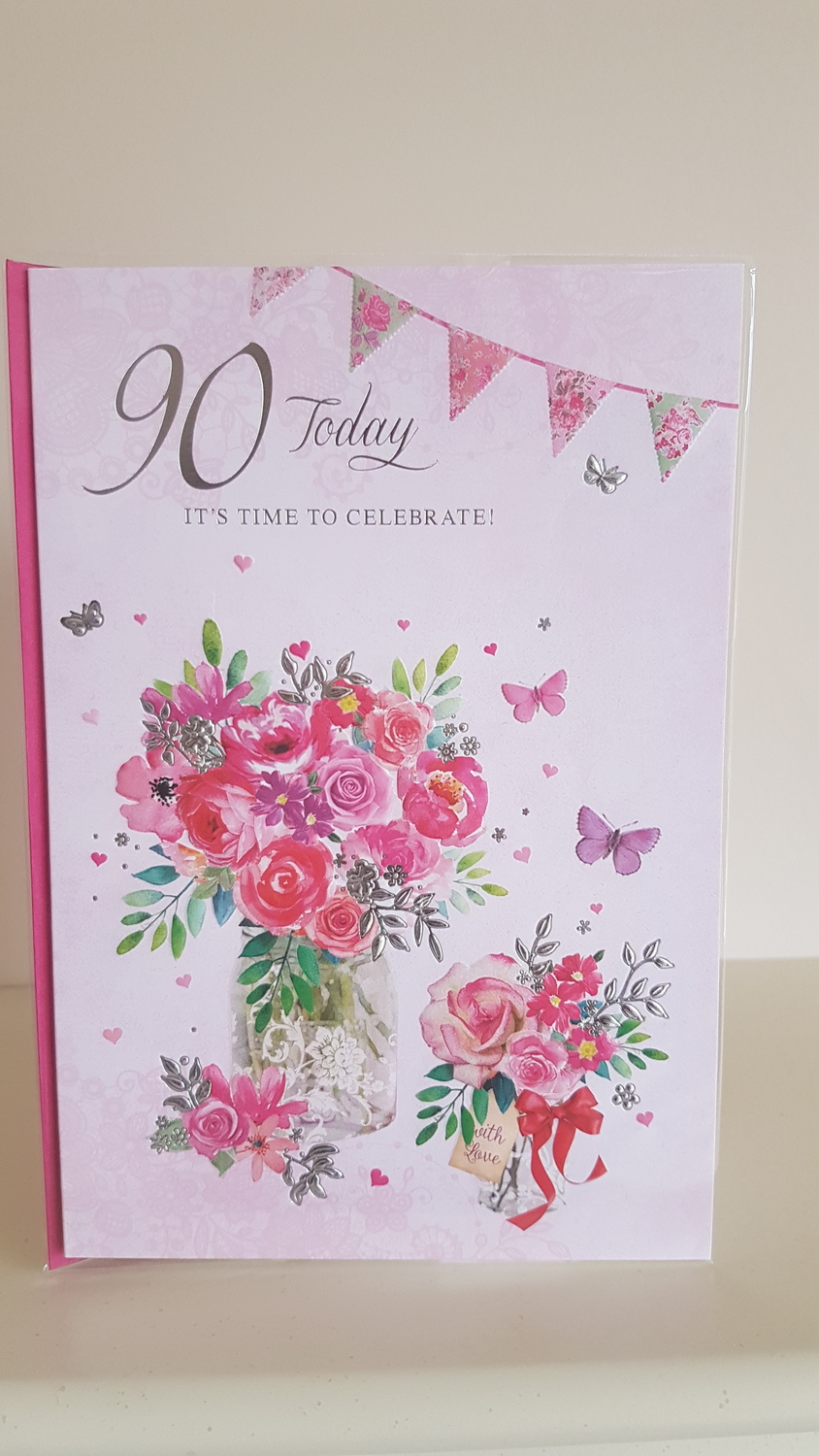 90th Birthday Bunches Of Flowers Pink Card Remember That Card