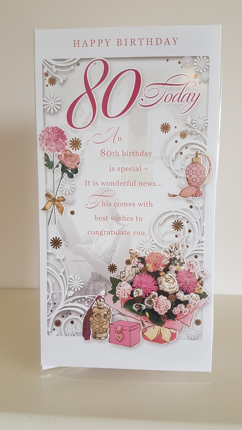 80th Birthday Bunch Of Flowers Pink Card