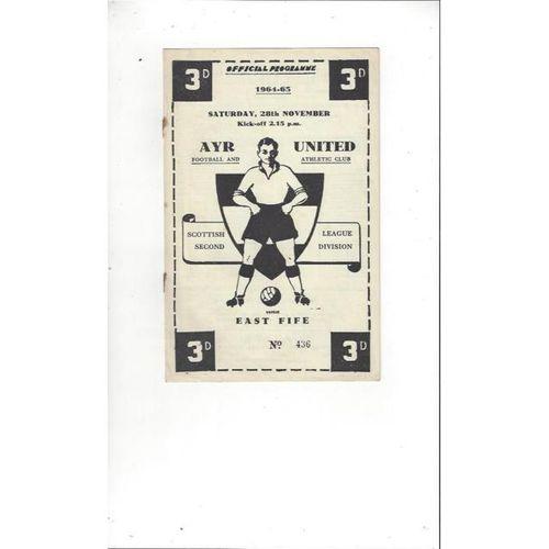 1964/65 Ayr United v East Fife Football Programme