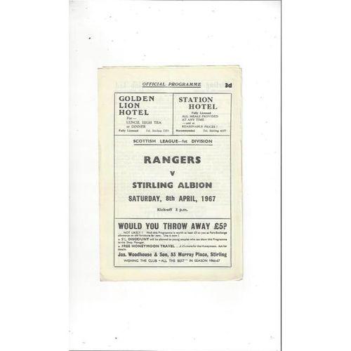 1966/67 Stirling Albion v Rangers Football Programme