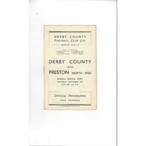 1946/47 Derby County v Preston Football Programme