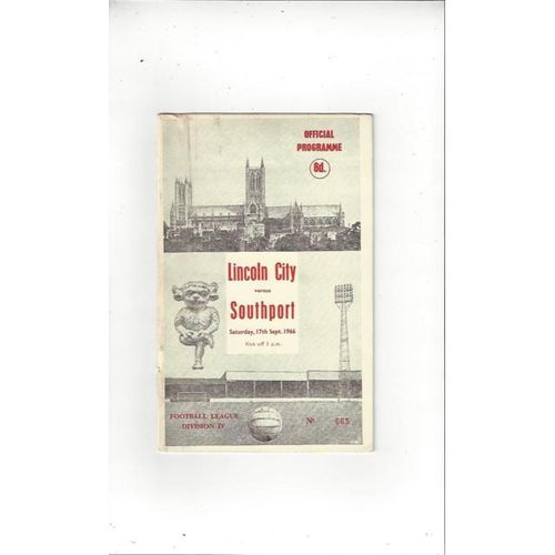 1966/67 Lincoln City v Southport Football Programme