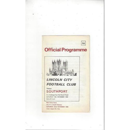 1969/70 Lincoln City v Southport FA Cup Football Programme