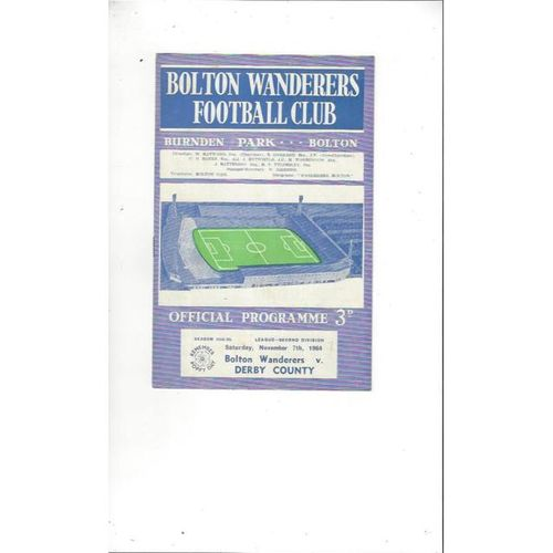 1964/65 Bolton Wanderers v Derby County Football Programme