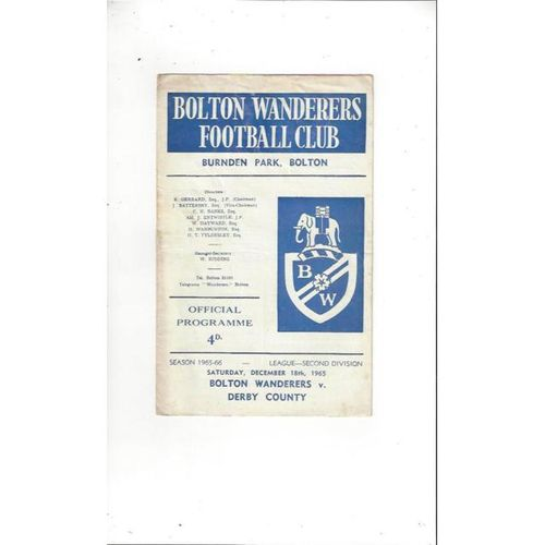 Bolton Wanderers v Derby County 1965/66