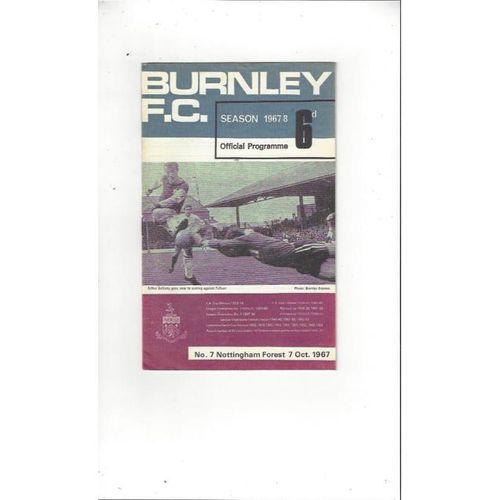 1967/68 Burnley v Nottingham Forest Football Programme