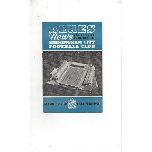 1961/62 Birmingham City v Blackpool Football Programme