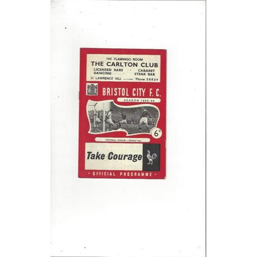 1965/66 Bristol City v Derby County Football Programme