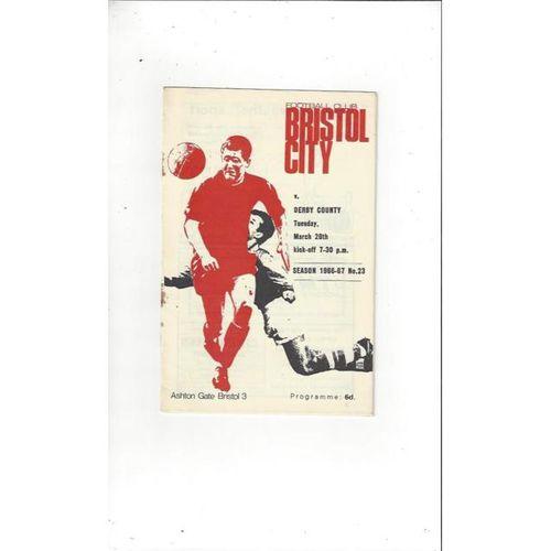 1966/67 Bristol City v Derby County Football Programme