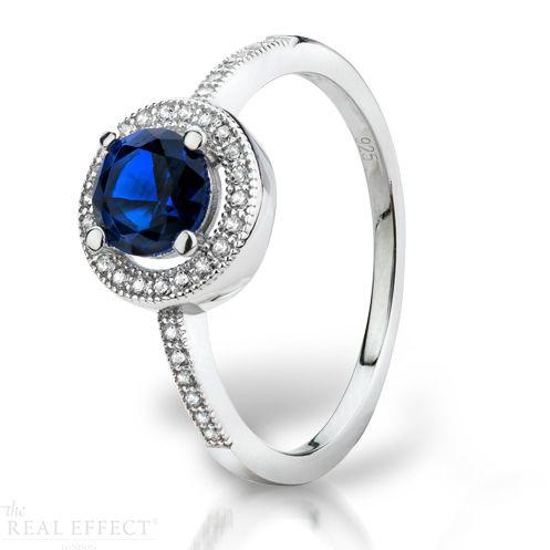 SILVER  BLUE & WHITE CZ RING