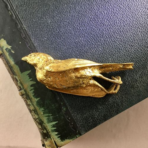 Victorian Christmas gilded bird paperweight Circa 1880