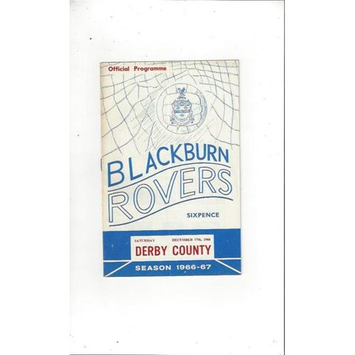 1966/67 Blackburn Rovers v Derby County Football Programme
