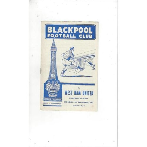 1961/62 Blackpool v West Ham United Football Programme