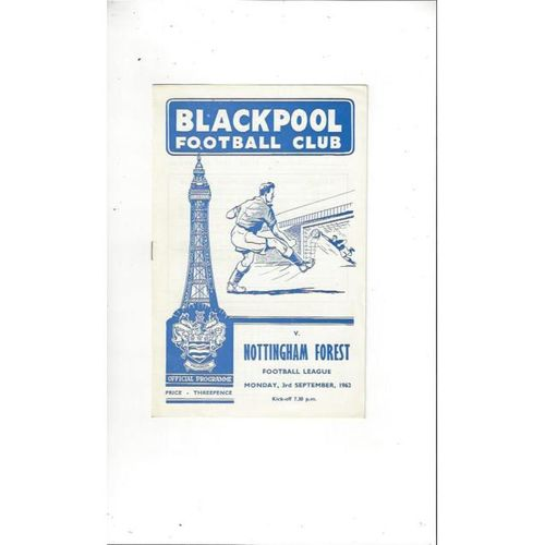 1962/63 Blackpool v Nottingham Forest Football Programme
