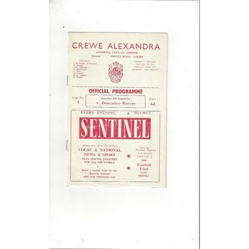1962/63 Crewe Alexandra v Doncaster Rovers Football Programme