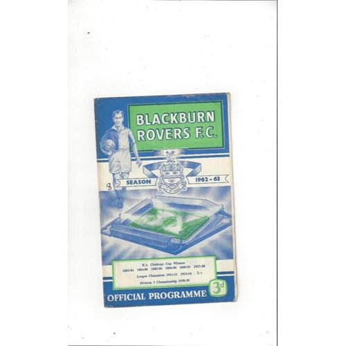 1962/63 Blackburn Rovers v Derby County Football Programme