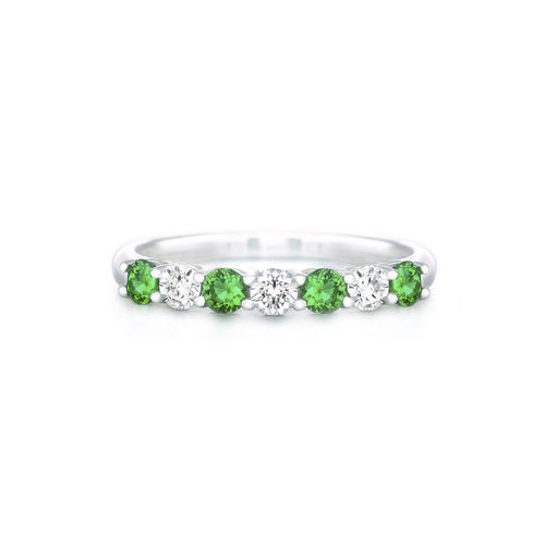 SILVER GREEN & WHITE CZ RING