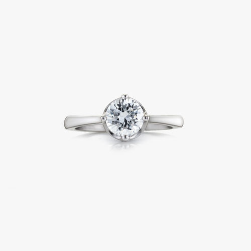SILVER CZ SINGLE STONE RING