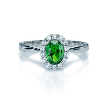 SILVER & GREEN CZ RING