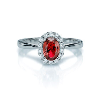 SILVER & RED CZ RING