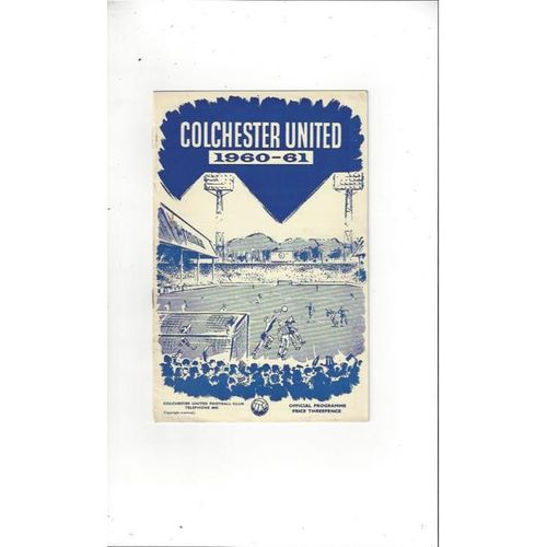 1960/61 Colchester United v Bournemouth Football Programme