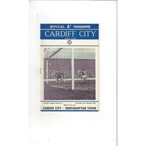 1964/65 Cardiff City v Northampton Town Football Programme