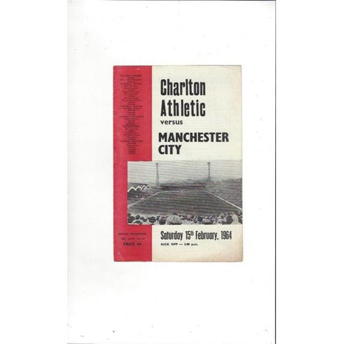 Charlton Athletic v Manchester City 1963/64