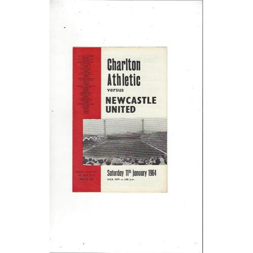 1963/64 Charlton Athletic v Newcastle United Football Programme