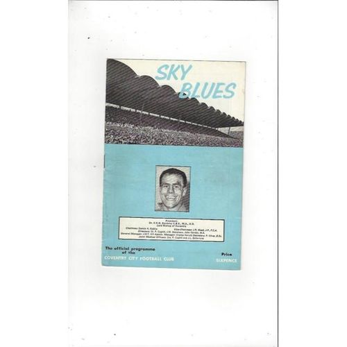 1965/66 Coventry City v Derby County Football Programme