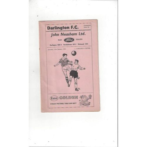 1960/61 Darlington v Carlisle United Football Programme