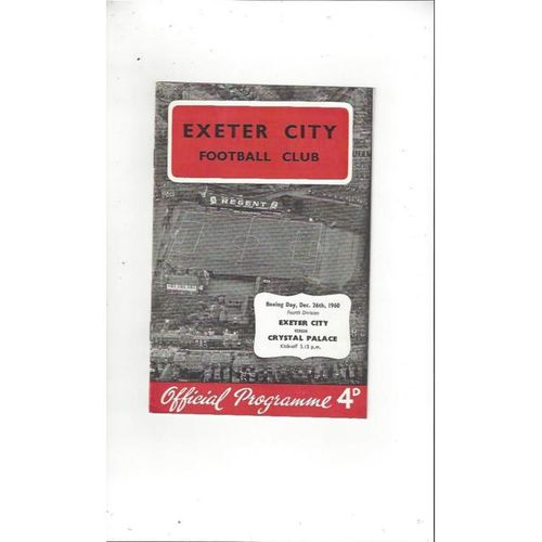 1960/61 Exeter City v Crystal Palace Football Programme