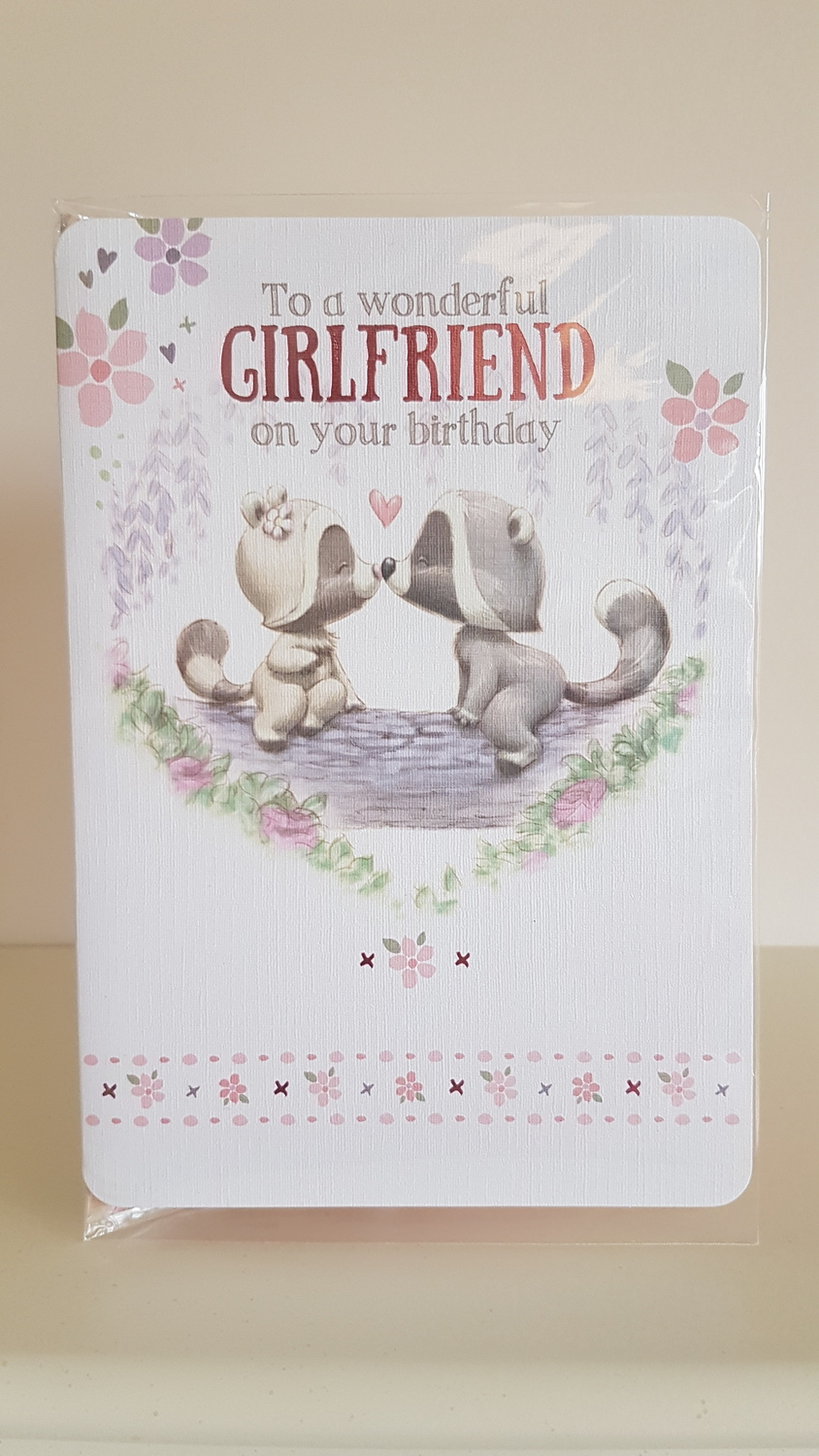 Girlfriend Pink Hearts Flowers Birthday Card