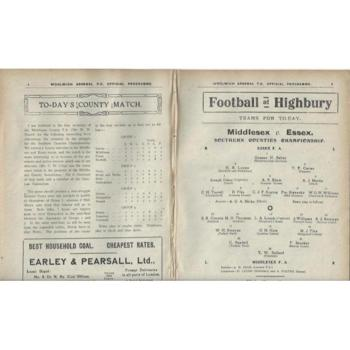 1913/14 Woolwich Arsenal v Croydon Common + Middlesex v Essex Double Football Programme