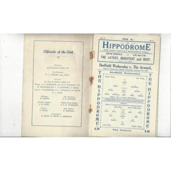 1929/30 Sheffield Wednesday v Arsenal Football Programme VIP Issue + Insert