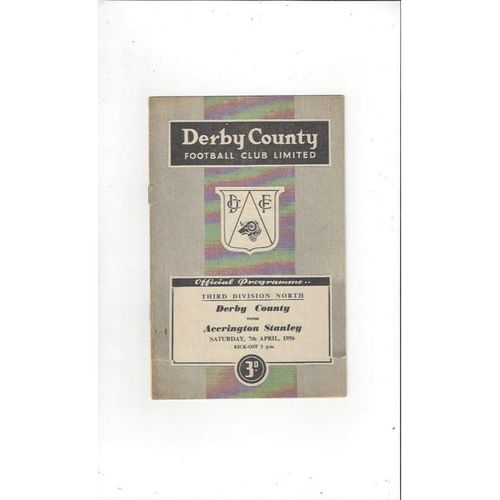 1955/56 Derby County v Accrington Stanley Football Programme