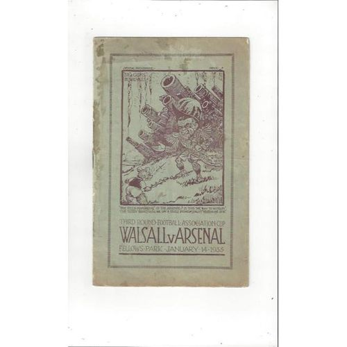 1932/33 Walsall v Arsenal FA Cup Football Programme