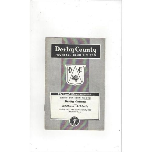 1956/57 Derby County v Oldham Athletic Football Programme