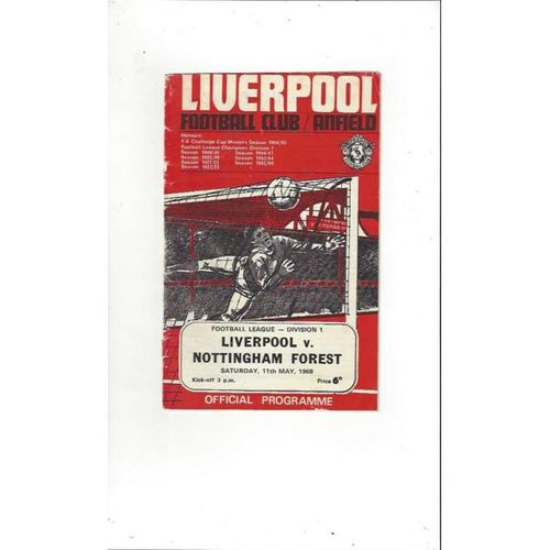 1967/68 Liverpool v Sheffield Wednesday Football Programme + League Review