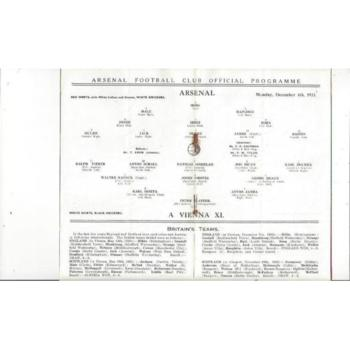 Arsenal v Vienna X1 Friendly Football Programme 1933/34